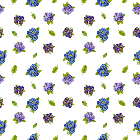 Seamless pattern with flowers pansies isolated on white background. Watercolor painting.