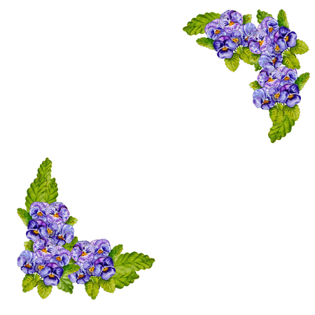Card with a place on the text. Bouquets of lilac pansies isolated on white background. Watercolor drawing made by hand.