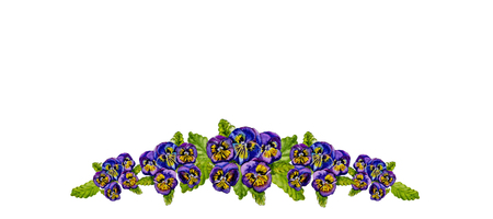 Hand painted illustration with pansy flowers and leaves isolated on white background. For design, print and background. Фото со стока