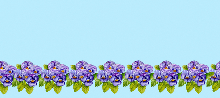 Seamless pattern pansies isolated on light blue background, watercolor pattern. Фото со стока