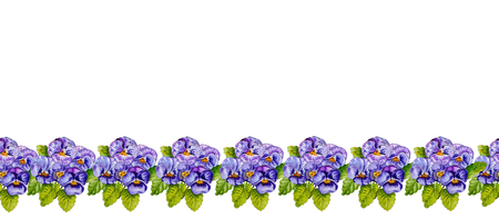 Seamless floral border band with lilac pansies on white background.