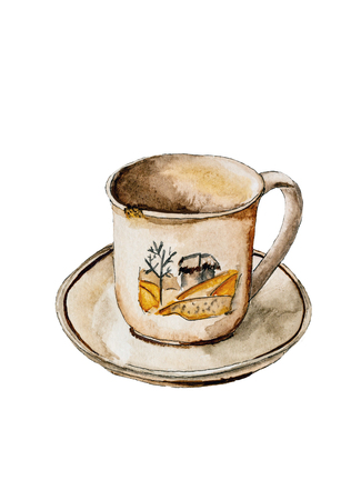 Cup and saucer isolated on white background illustration. Old ceramic tea cup watercolor illustration.