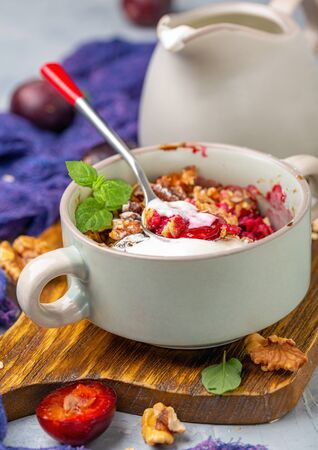 Delicious plum crumble dessert with oatmeal, vanilla, walnut crumb and mint in ceramic bowl and yogurt sauce in a jug, selective focus. Stock Photo