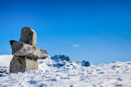 inukshuk: Inukshuk Rock, Whisler,Canada Stock Photo