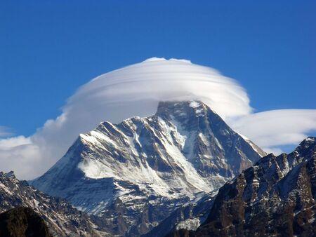 Nandadevi, Himalaya, Mountain Peak, Garhwal, Cloud white cloud Snow Peak