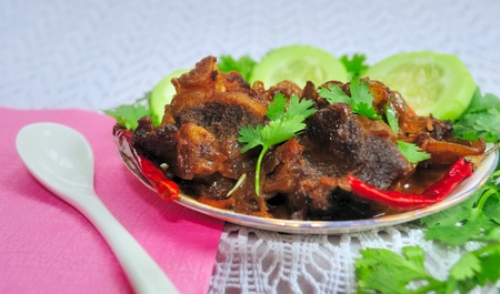 Juicy, delecious Indian Dish named Mutton Curry (Mutton Korma, Meat Korma) on a plate with garnishing vegetable and coriander leaves Stock Photo - 9462379