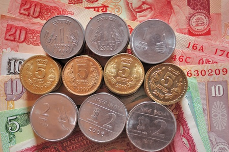 Indian Currency notes and Coins Stock Photo - 9577593