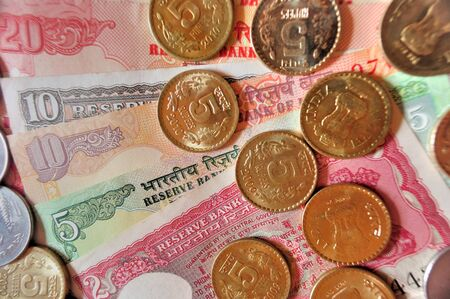 Indian currency in Notes and coins of denomination Rs20, Rs.10, Rs.5, Rs.2 and Re.1