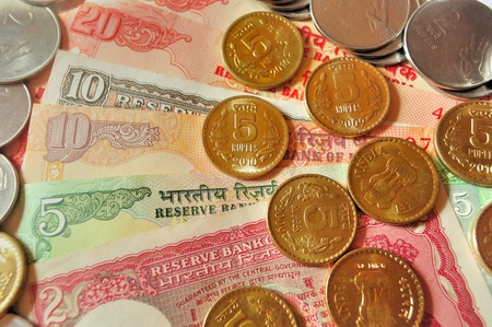 Indian currency in Notes and coins of denomination Rs20, Rs.10, Rs.5, Rs.2 and Re.1 photo
