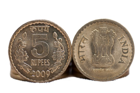 Close up of Indian Coin, 5 rupees, isolated on white background, copy space, photo