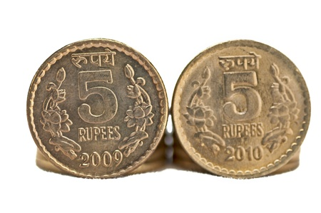Close up of Indian Coin, 5 rupees, isolated, copy space, photo