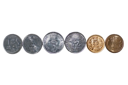 five rupee: Close up of  row of Indian Coins, 5 rupees, 2 rupees, 1 rupee, isolated on white background, copy space, Stock Photo