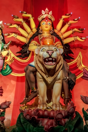 Durga Puja is the biggest festival in Bengal  This idol has no copyright owner and made only for the purpose of 5 days of worship after which Durga Idol on lion, traditional, worship, Hindu, Hinduism, Bengal culture, extravagant, earthen, colorful, travel