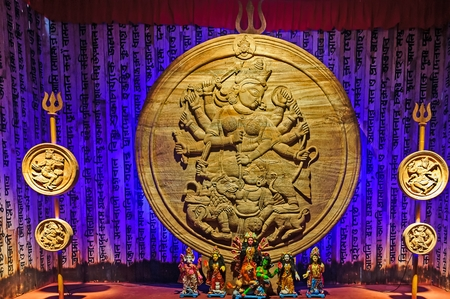 calcutta: Goddess Durga artwork for Durga Puja Festival in Kolkata, Calcutta