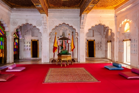 Throne room and Royal court of Marwar King, Mehrangarh fort, Rajasthan, India