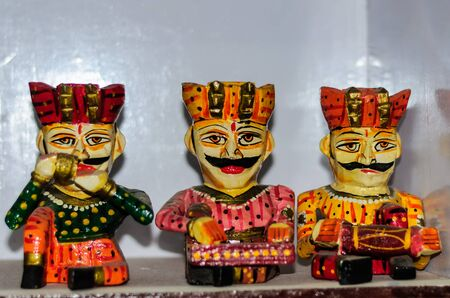 Colorful handcrafted dolls made of wood from Rajasthan, India