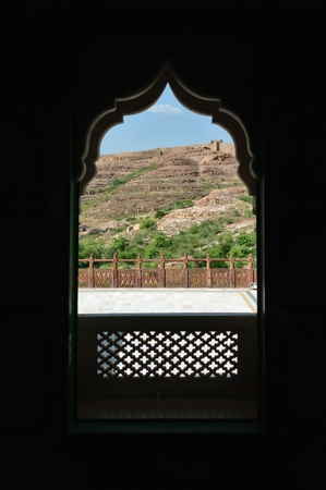 View through a window, Rajasthan, India Editorial