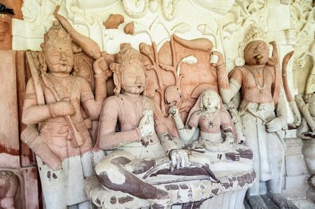 hindu gods: Ancient stone curved sculptures of Hindu Gods and godess