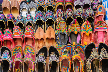 Collection of Jutti traditional shoes of Rajasthan, India Stock Photo