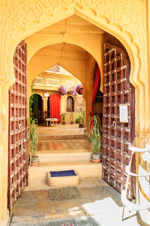 arched: Open doors and arched doorwayinside Golden Fort of Jaisalmer, Rajasthan Editorial
