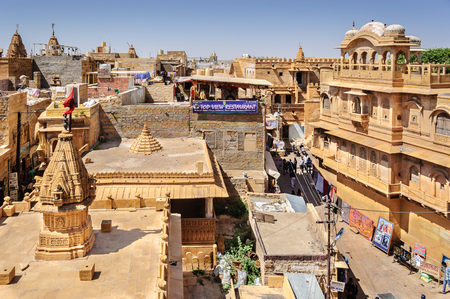 jaisalmer: View of Hindu temples and houses inside Golden Fort of Jaisalmer, Rajasthan India with copy space