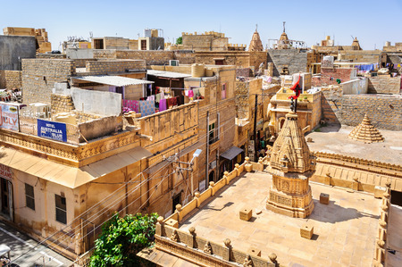 View of Hindu temples and houses inside Golden Fort of Jaisalmer, Rajasthan India with copy space