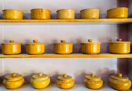 Traditional crockery, bowls made of yellow sandstone of Jaisalmer, Rajasthan, India, Asia Editorial