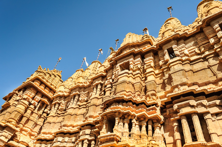 hindu temple: Ancient sandstone made Hindu Temple inside Golden fort of Jaisalmer, Rajasthan, India with copy space