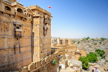jaisalmer: Different Parts of Golden Fort of Jaisalmer, Rajasthan India with copy space