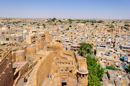 Birds eye view of Jaisalmer city from Golden Fort of Jaisalmer, Rajasthan India with copy space