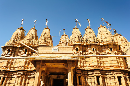Ancient sandstone made Hindu Temple inside Golden fort of Jaisalmer, Rajasthan, India with copy space
