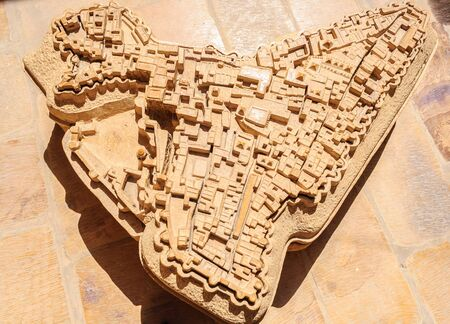 Ancient stone made map of Golden Fort of Jaisalmer, Rajasthan India with copy space