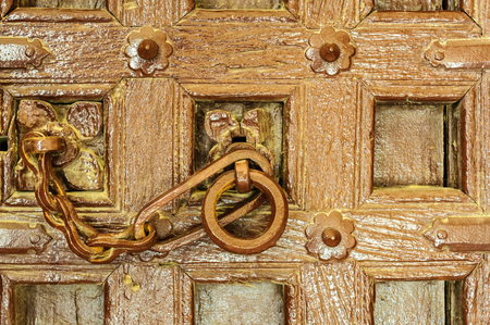 Traditional Indian door knocker Golden Fort of Jaisalmer, Rajasthan India with copy space