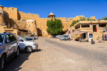Entrance of Golden Fort of Jaisalmer, Rajasthan India with copy space