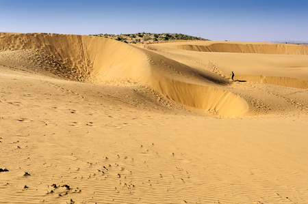 Footprints of a boy tourist walking on Sand dunes, SAM dunes of Thar Desert of India with copy space Stock Photo