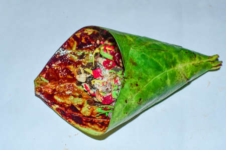 Banarasi Pan, Betel Nut Garnished With All Indian Sweet Colourful Ingredients For Eating Or Sale. 04