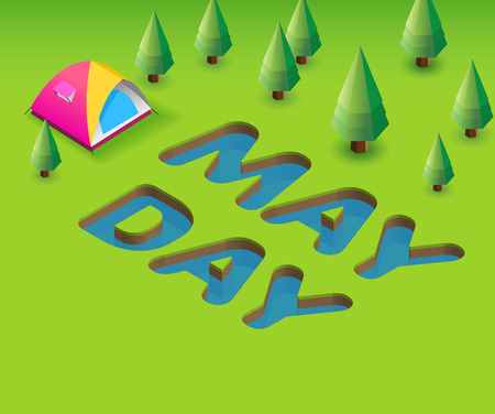 May Day poster template. 3D illustration