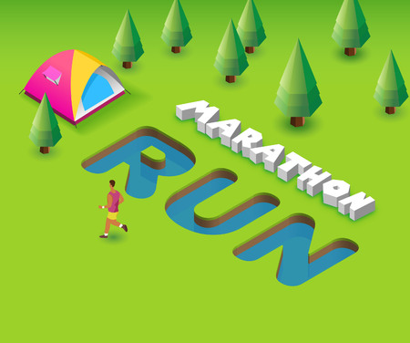 Marathon Run. Green Poster template for invitation or event, 3D illustration Stock Photo