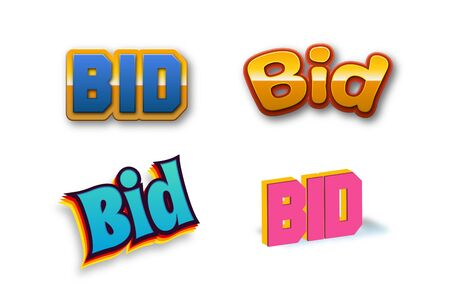 Bid Text for Title or Headline. In 3D Fancy Fun and Futuristic style