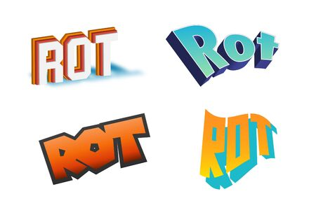 Rot Text for Title or Headline. In 3D Fancy Fun and Futuristic style