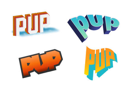 Pup Text for Title or Headline. In 3D Fancy Fun and Futuristic style