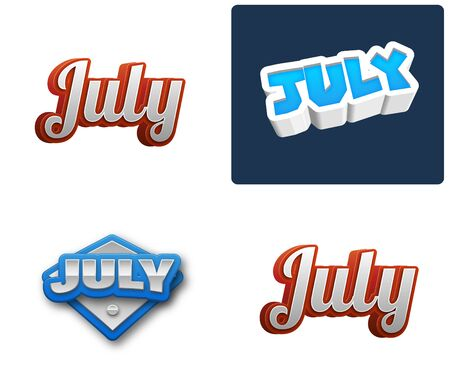 weekly: July month text for Calendar Design