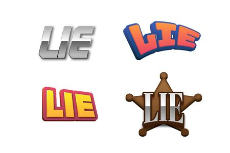 Lie Text for Title or Headline. In 3D Fancy Fun and Futuristic style Stock Photo