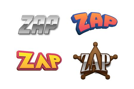 Zap Text for Title or Headline. In 3D Fancy Fun and Futuristic style