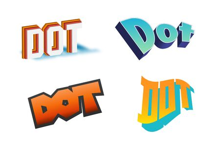 Dot Text for Title or Headline. In 3D Fancy Fun and Futuristic style