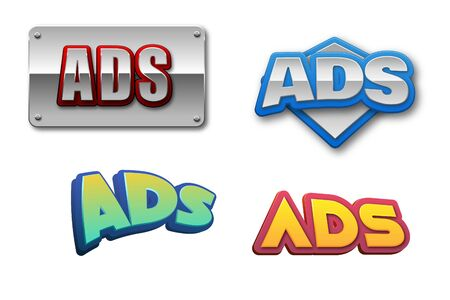 Ads for advertisement Text for Title or Headline. In 3D Fancy Fun and Futuristic style