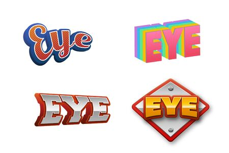 Eye Text for Title or Headline. In 3D Fancy Fun and Futuristic style
