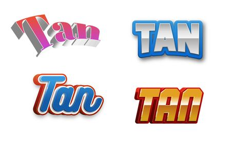 tangent: Tan Text for Title or Headline. In 3D Fancy Fun and Futuristic style Stock Photo