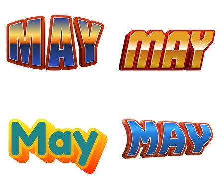 salarios: Texto del mes de mayo para el diseño del calendario Foto de archivo