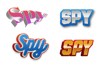 Spy Text for Title or Headline. In 3D Fancy Fun and Futuristic style